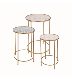 BRASS ACCENT TABLES, SET OF 3