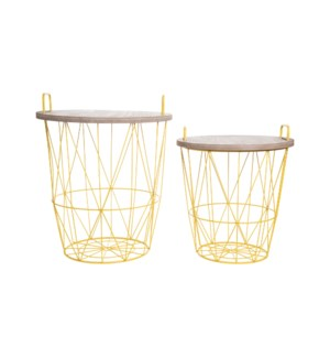 ELEMENT ACCENT TABLES MUSTARD, SET OF 2