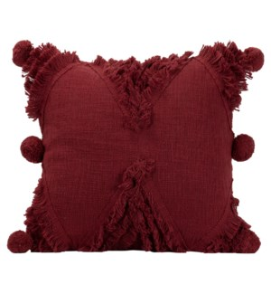 18X18 HAND WOVEN BETTY PILLOW BURGUNDY