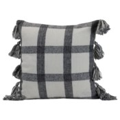 18X18 HAND WOVEN JACKIE PILLOW BLACK