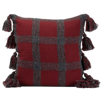 18X18 HAND WOVEN JACKIE PILLOW RED
