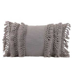14X22 HAND WOVEN GRACE PILLOW GRAY