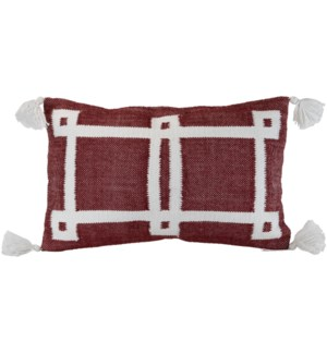14X22 HAND WOVEN BEVERLY PILLOW BURGUNDY