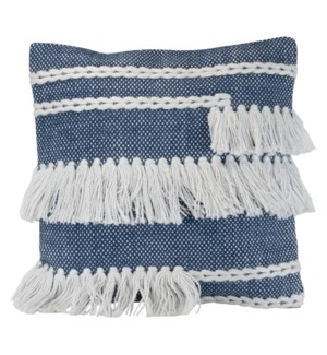 18X18 HAND WOVEN HARRIET PILLOW BLUE