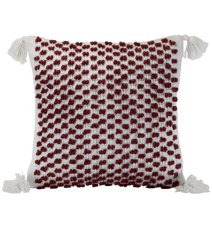 18X18 HAND WOVEN POPPY PILLOW RED