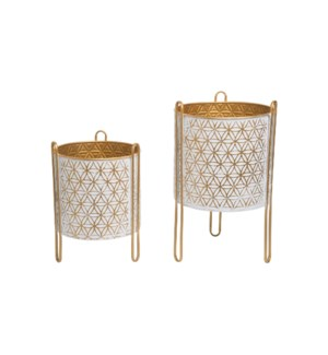 MODERN BRASS FLOOR PLANTERS, SET OF 2