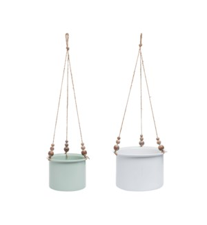 WOOD BEAD HANGING PLANTERS, SET OF 2