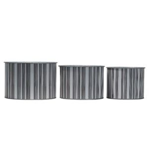 TICKING STRIPE PLANTERS, SET OF 3
