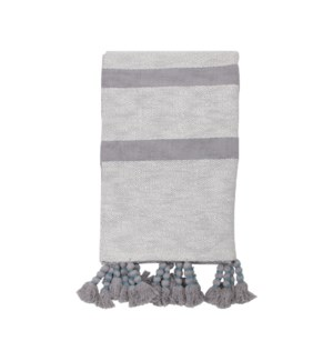 HAND WOVEN DIXIE STRIPE THROW GRAY