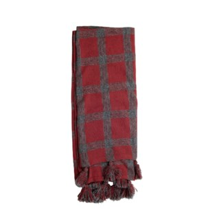 HAND WOVEN JACKIE THROW RED