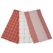LOGAN TEA TOWELS RED, SET OF 3