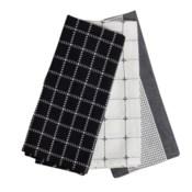 LOGAN TEA TOWELS BLACK, SET OF 3