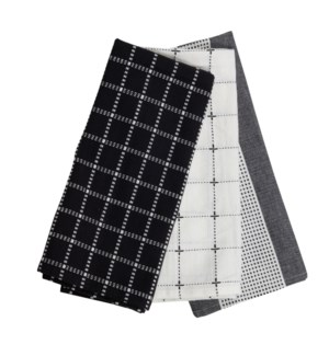 LOGAN TEA TOWELS BLACK, SET OF 3
