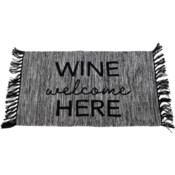 HAND WOVEN WINE WELCOME HERE RUG