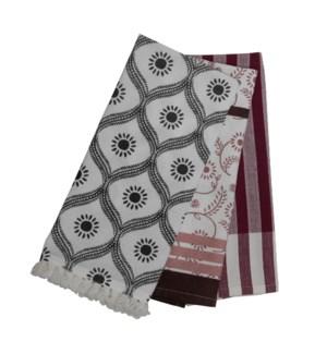JENICA TEA TOWELS MAUVE, SET OF 3