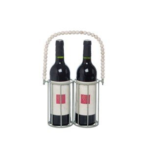 2 BOTTLE WOOD BEAD WINE CADDY