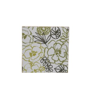 GREEN FLORAL WEDGE WALL ART