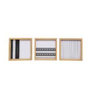 BLACK AND WHITE WALL ART, SET OF 3