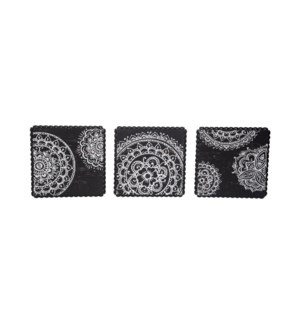 HENNA PRINT WOOD BEAD WALL ART, SET OF 3