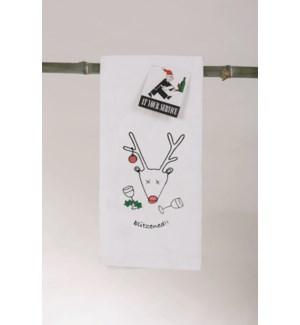 Bar Towel, Holiday, Blitzened,  min 6 pcs per style