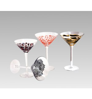 Animal Print Martini glass, open stock, leopard, 8 oz capacity