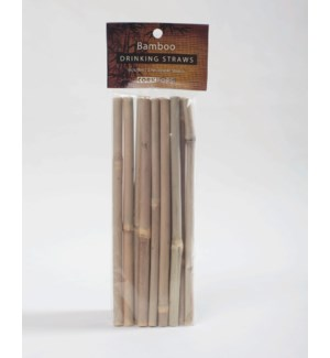 Bamboo Drinking Straws/Stirrers, 12 pc poly bag with header