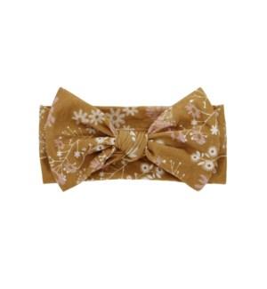 8/15 Mustard Floral Bamboo Baby Headband