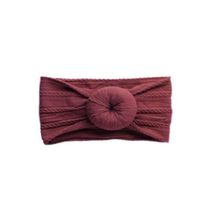 Burgundy Cable Knit Bun Baby Headband