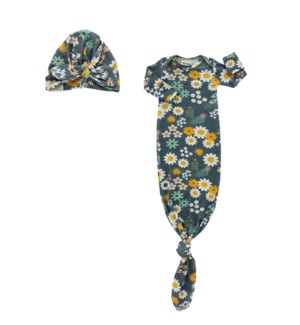 Blue Daisy Bamboo Gown and Hat Newborn Baby Gift Set