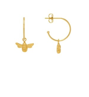 Bee Drop Hoop Earrings - Gold Plated