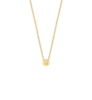 Chubby Round CZ Necklace - Gold Plated