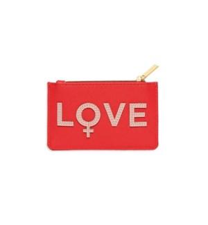 Card Purse - Coral with Blush Applique - Love