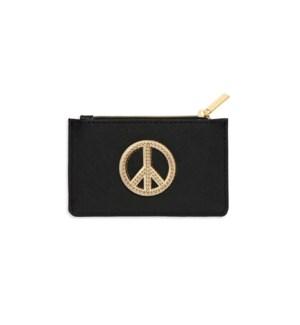 Card Purse - Black with Gold Applique - Peace