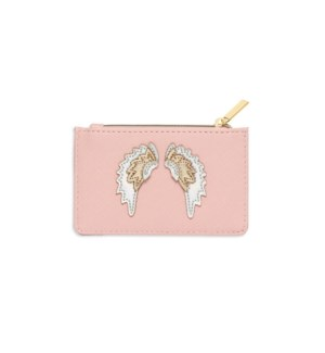 Card Purse - Blush with Iridescent and Gold Applique - Wings