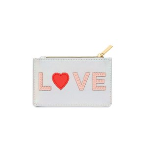 Card Purse - Iridescent with Blush and Coral Applique - Love