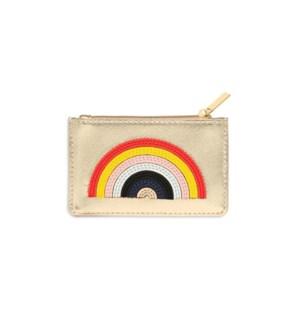 Card Purse - Gold with Multicolour Applique - Rainbow
