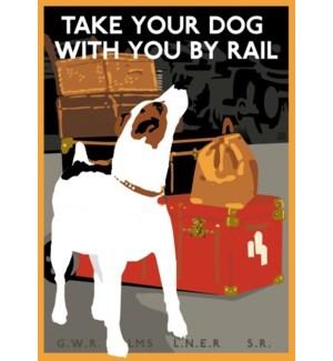 Dog by Rail Luggage Tag