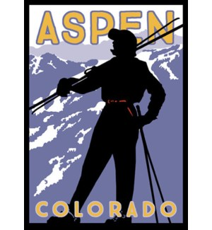 Aspen Skier Luggage Tag