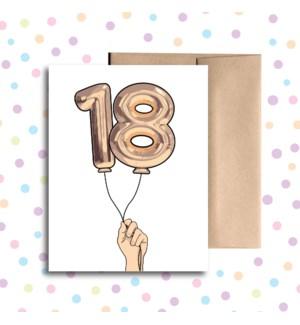 18 Balloon Greeting Card
