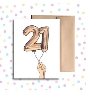 21 Balloon Greeting Card