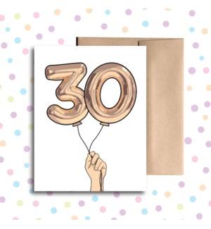 30 Balloon Greeting Card