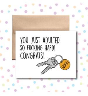 Adulted So Fucking Hard Greeting Card