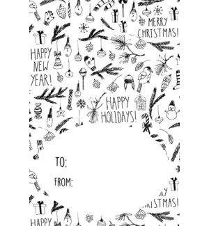Black and White Christmas Gift Tags