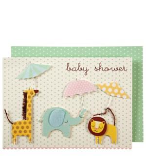Animals With Umbrellas Card - 15-3161C