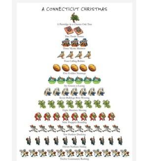 """A CONNECTICUT CHRISTMAS KITCHEN TOWEL 18X26"""" 100% COTTON"""