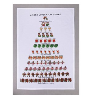 A Beer Lovers Christmas Print Kitchen Towel
