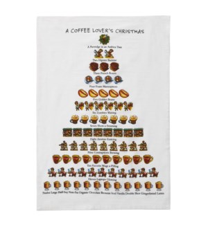 A Coffee Lover's Christmas Print Kitchen Towel