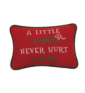 A LITTLE NAUGHTY EMBROIDERED VELVT PILLOW