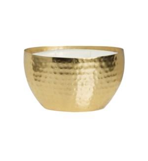 Amber & Teakwood Brass Oval Hammered Bowl 18oz Candle