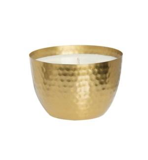 Amber & Teakwood  Brass Round Hammered Bowl 14oz Candle